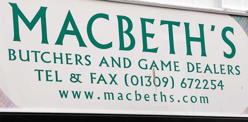 Macbeths Butchers Sign